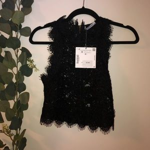 Zara Lace Crop Top NWT M